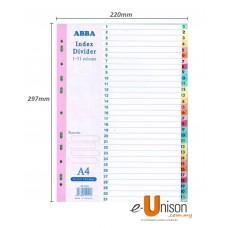 Colour Index Divider 1-31