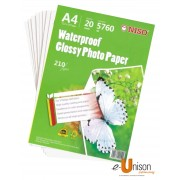 Niso Waterproof Glossy Photo Paper A4 210gsm 20's